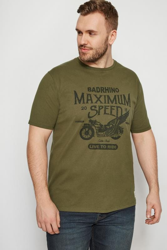 Plus Size T-Shirts BadRhino Green Motorbike T-Shirt
