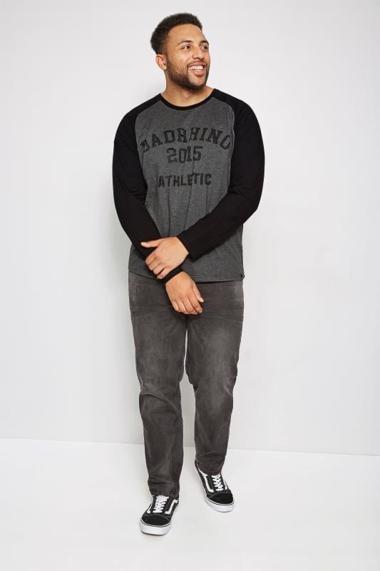 T-Shirts BadRhino Grey & Black Logo Print T-Shirt With Long Raglan Sleeves 200474
