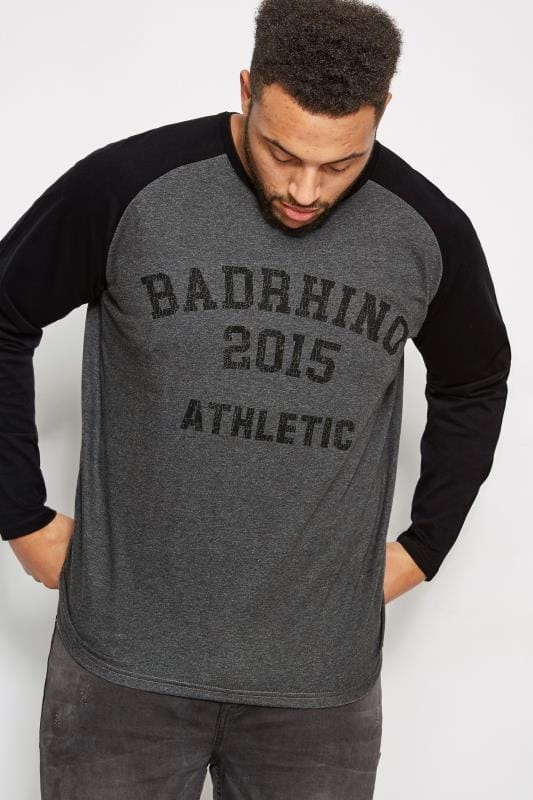 T-Shirts BadRhino Grey & Black Logo Print T-Shirt With Long Raglan Sleeves 200474
