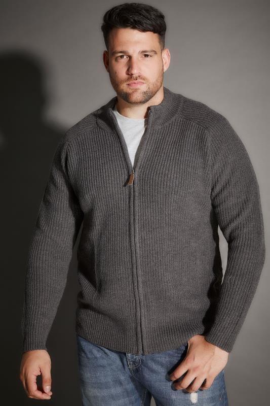 BadRhino Grey Rib Knit Sweater With Funnel Neck