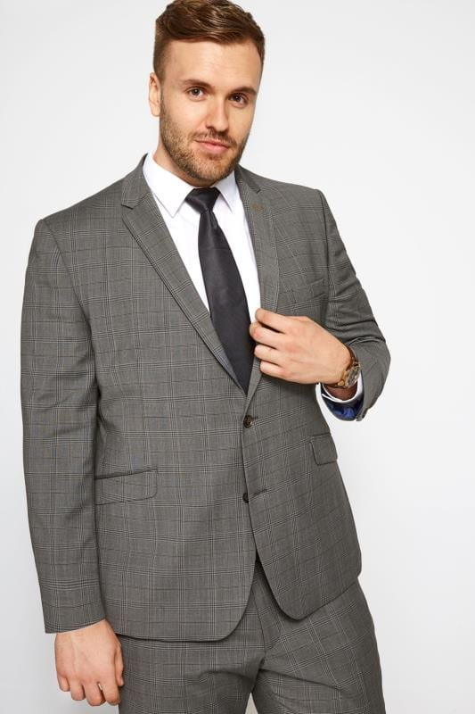 Vestes de Costumes Grande Taille BadRhino Grey Checked Suit Jacket