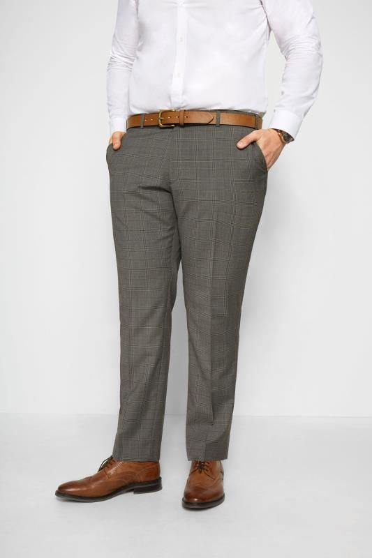 Smart Trousers BadRhino Grey Checked Suit Trousers 201235
