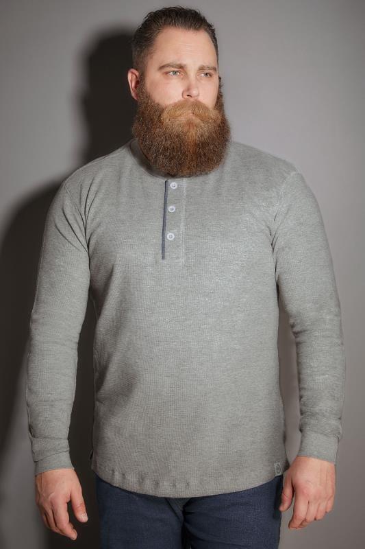BadRhino Grey Henley Button Detail Cotton Jersey Top