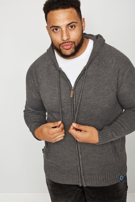 BadRhino Grey Knitted Zip Through Hoodie