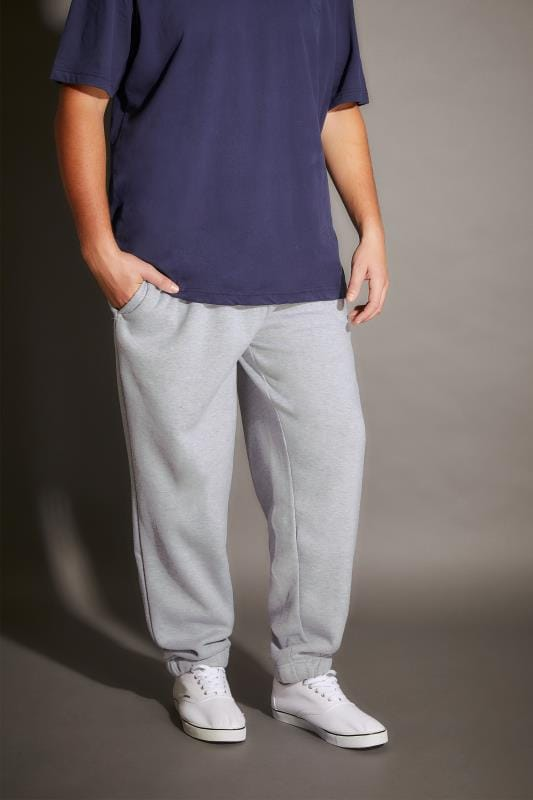 Plus Size Joggers BadRhino Grey Marl Basic Sweat Joggers With Pockets