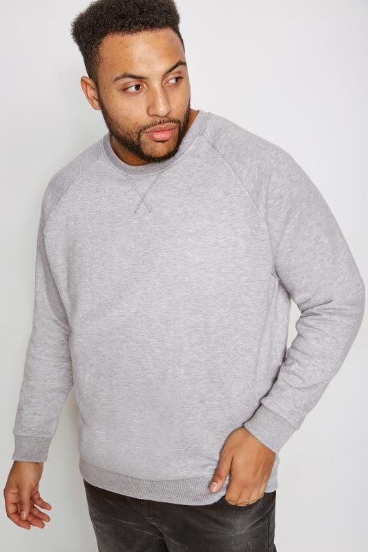 BadRhino Grey Marl Crew Neck Raglan Basic Sweatshirt