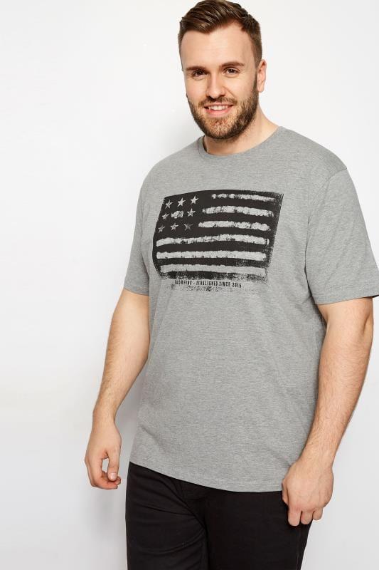 Plus Size T-Shirts BadRhino Grey Marl Flag T-Shirt