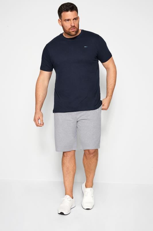 BadRhino Jogging-Shorts mit Streifen-Besatz - Grau meliert