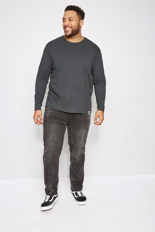 T-Shirts BadRhino Grey Marl Long Sleeve Crew Neck T-Shirt 200387