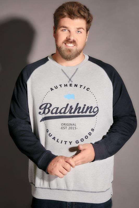 BadRhino Grey Marl & Navy Raglan Logo Detail Sweatshirt
