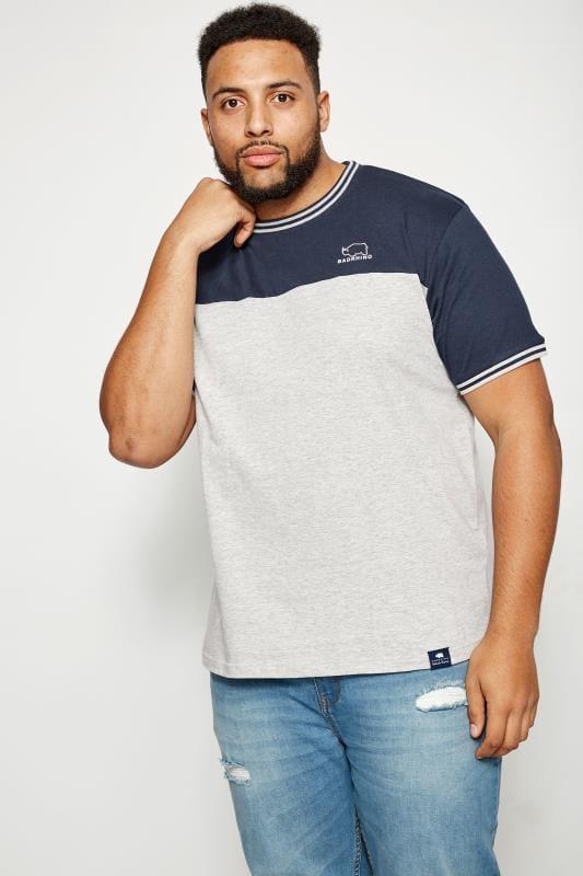BadRhino Grey & Navy Colour Block T-Shirt
