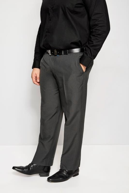 Men's Smart Trousers BadRhino Grey Single Pleat Smart Trousers