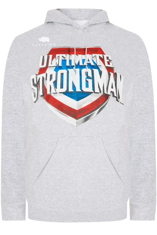 Plus Size Hoodies BadRhino Grey 'Ultimate Strongman' Hoodie