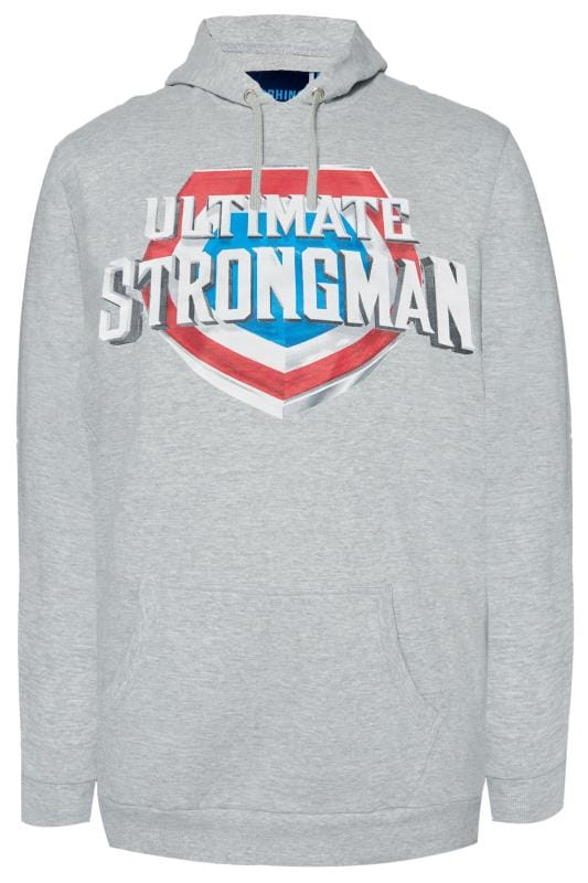 Hoodies Grande Taille BadRhino Grey 'Ultimate Strongman' Hoodie