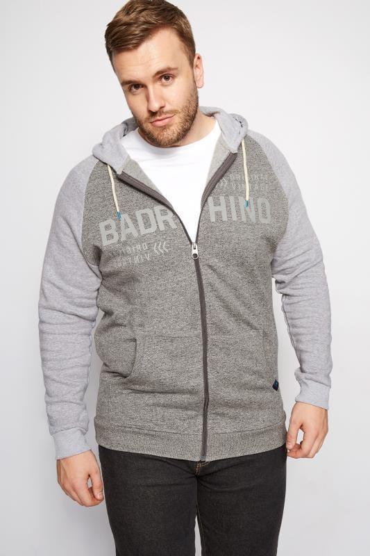 Plus Size Hoodies BadRhino Grey Vintage Zip Through Hoodie
