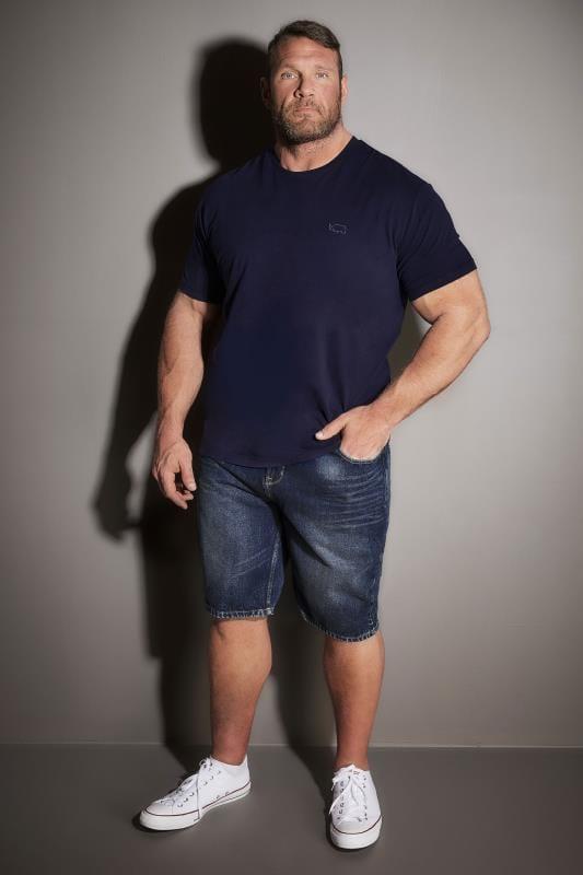 BadRhino Indigo Denim Faded Leg 5 Pocket Shorts