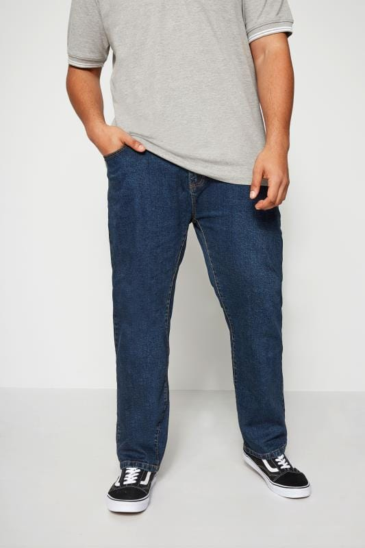 Plus-Größen Straight BadRhino Indigo Denim Straight Leg Stretch Jeans