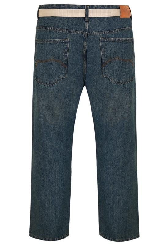 BadRhino Jeans mit geradem Bein und Gürtel - Indigo gewaschen