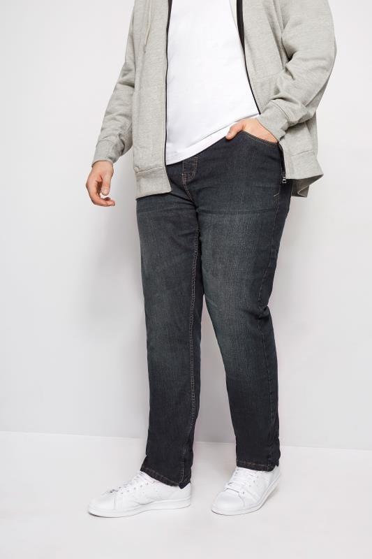 Tapered dla puszystych BadRhino Indigo Denim Vintage Wash Tapered Leg Jeans