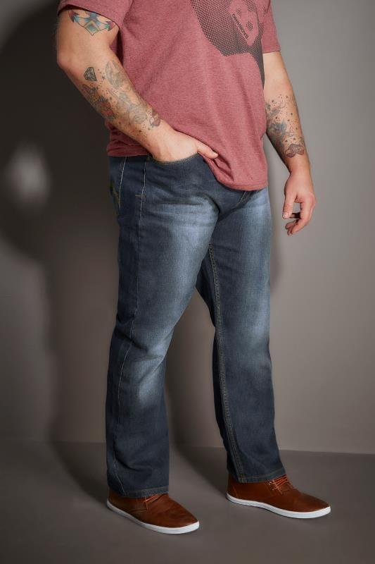 Plus Size Bootcut BadRhino Indigo Faded Bootcut Stretch Jeans