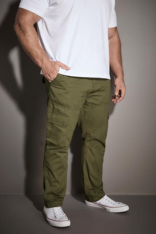 Plus Size Cargo Trousers BadRhino Khaki Cargo Trouser With Utility Pockets & Canvas Belt