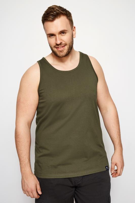 Plus Size Vests BadRhino Khaki Cotton Vest Top