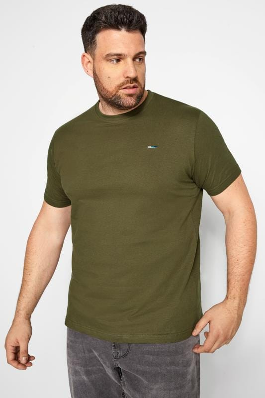 Men's T-Shirts BadRhino Khaki Green Crew Neck T-Shirt