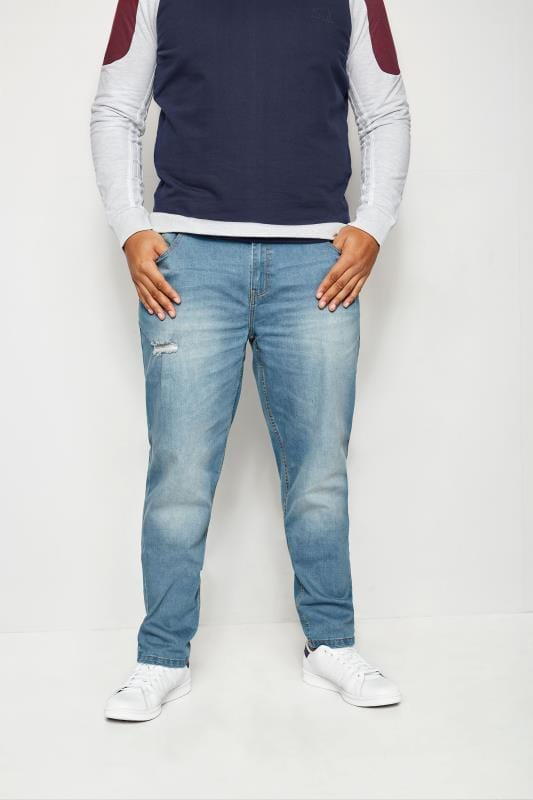 BadRhino Light Blue Distressed Slim Tapered Fit Stretch Jeans