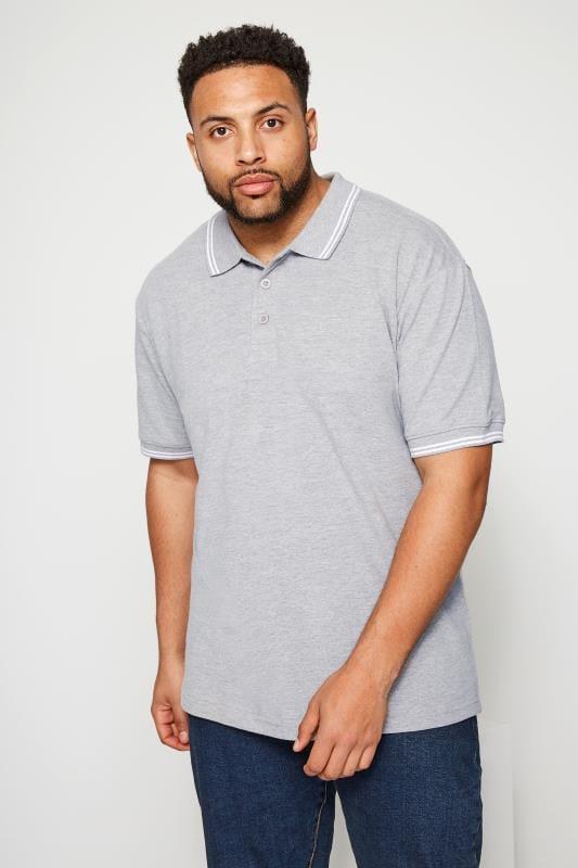 Plus Size Polo Shirts BadRhino Light Grey Textured Tipped Polo Shirt