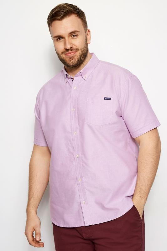 Plus Size Smart Shirts BadRhino Lilac Cotton Short Sleeved Oxford Shirt