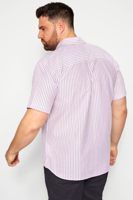 BadRhino Lilac Striped Short Sleeved Oxford Shirt_0fda.jpg