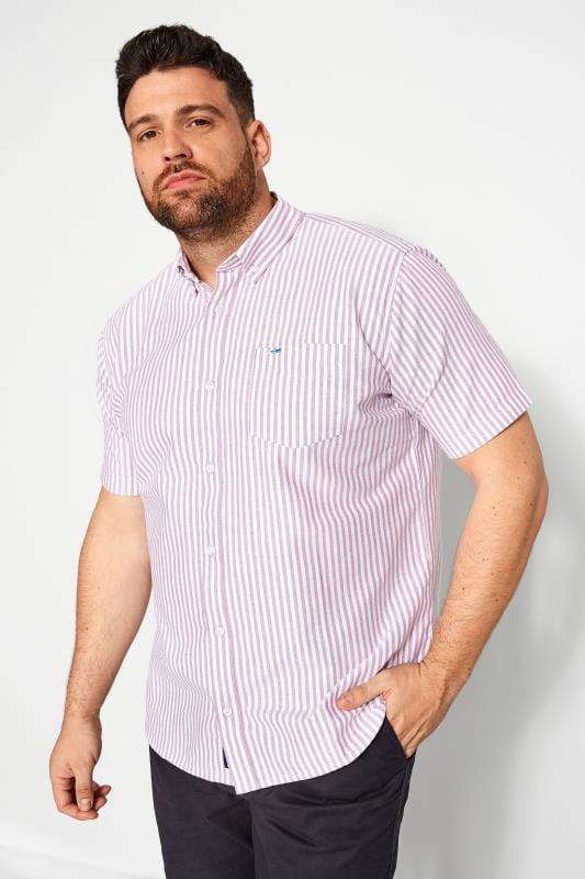 Casual Shirts BadRhino Lilac Striped Short Sleeved Oxford Shirt 201289