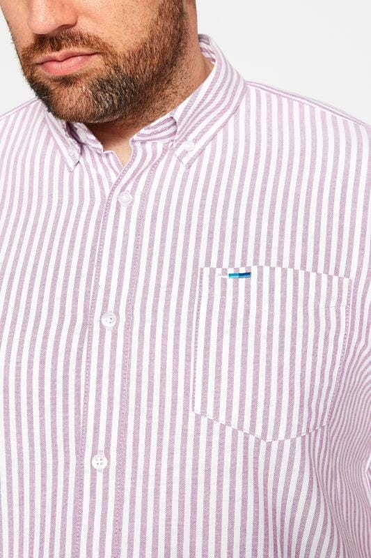 BadRhino Lilac Striped Short Sleeved Oxford Shirt_be9d.jpg