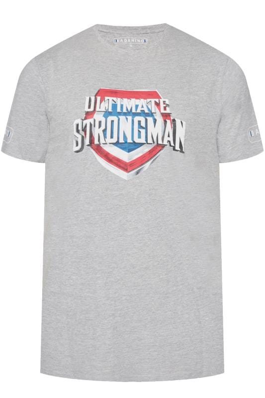 Men's T-Shirts BadRhino Marl Grey 'Ultimate Strongman' T-Shirt