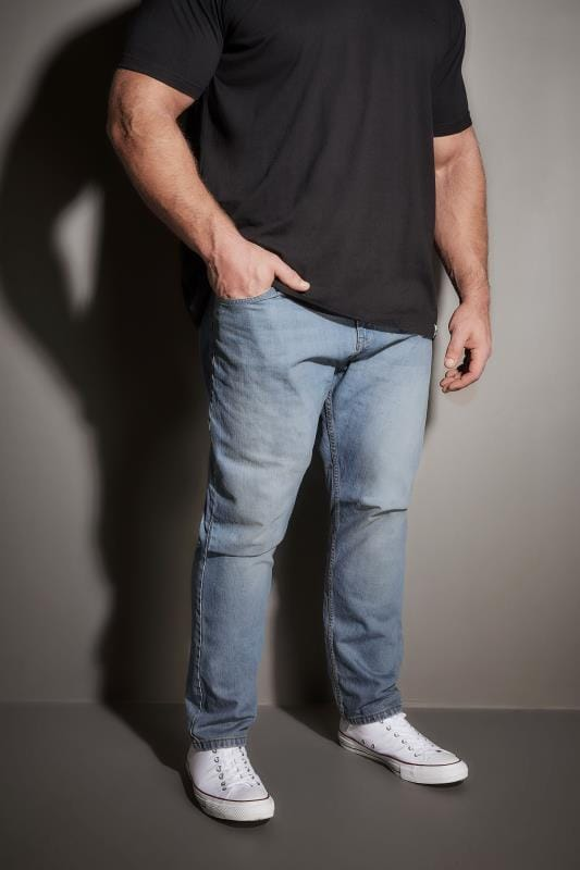 Plus Size Tapered BadRhino Mid Blue Faded Wash Denim Tapered Jeans