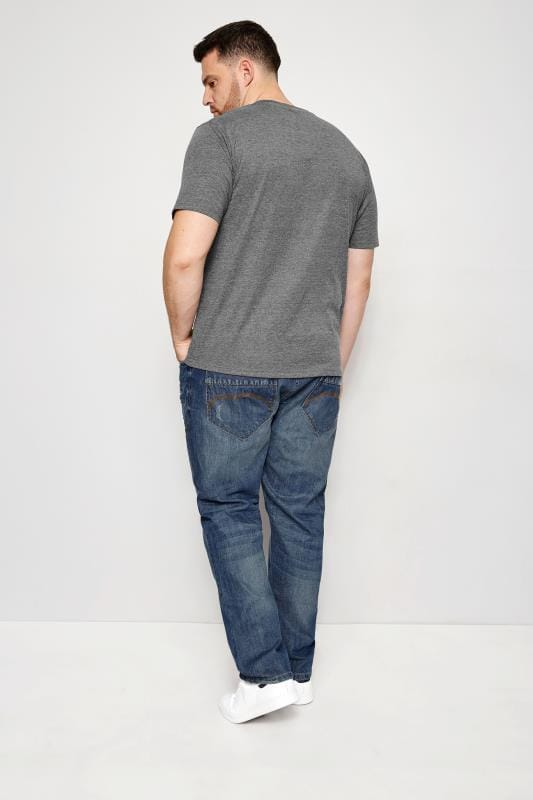 BadRhino Mid Blue Rip & Repair Denim Tapered Jeans_17d3.jpg