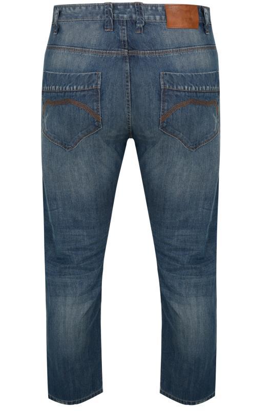 BadRhino Mid Blue Rip & Repair Denim Tapered Jeans_5079.jpg
