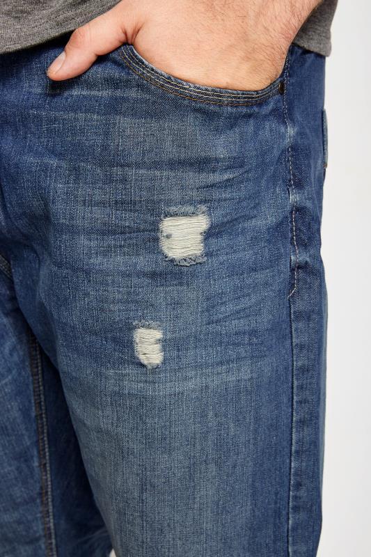 BadRhino Mid Blue Rip & Repair Denim Tapered Jeans_61be.jpg