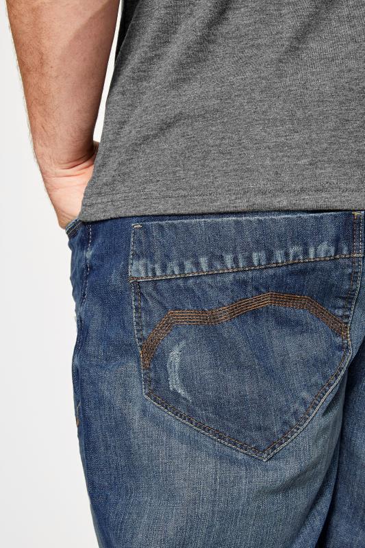 BadRhino Mid Blue Rip & Repair Denim Tapered Jeans_9449.jpg