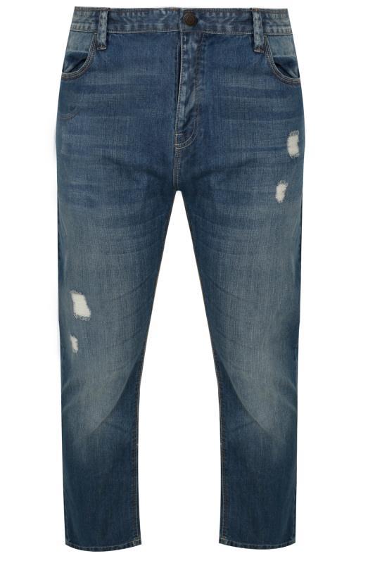 BadRhino Mid Blue Rip & Repair Denim Tapered Jeans_f378.jpg