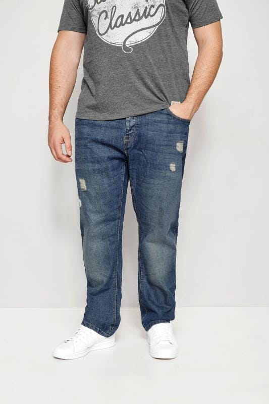 Große Größen Tapered BadRhino Mid Blue Rip & Repair Denim Tapered Jeans