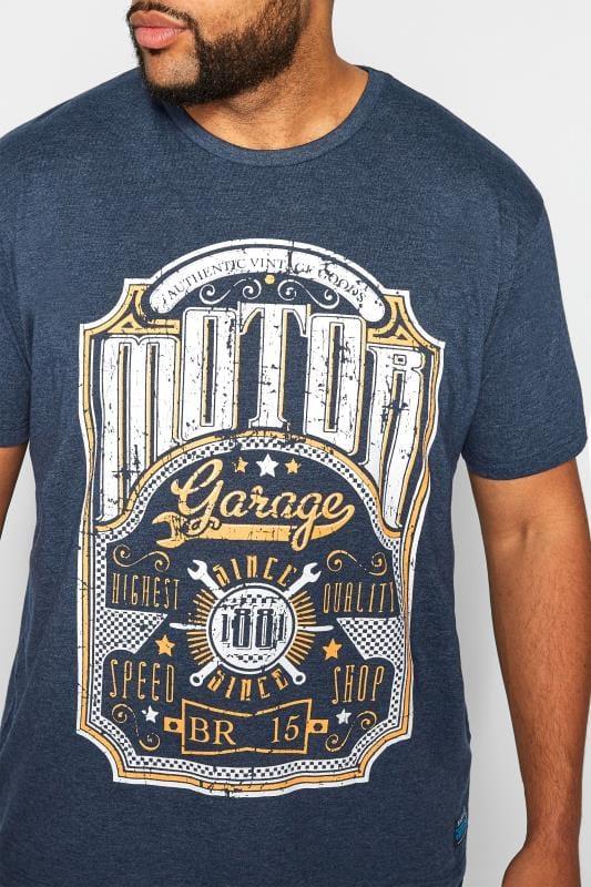 BadRhino Motor Garage Print Navy Marl T-Shirt