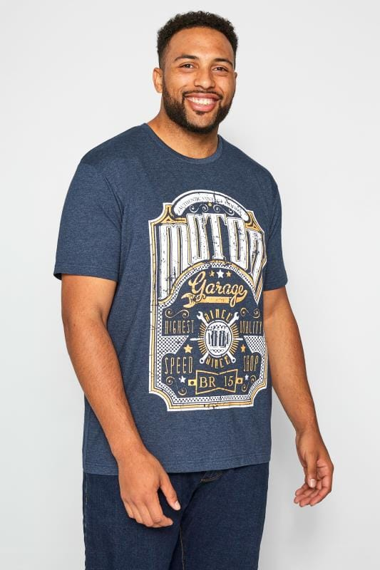 Plus-Größen T-Shirts BadRhino Motor Garage Print Navy Marl T-Shirt