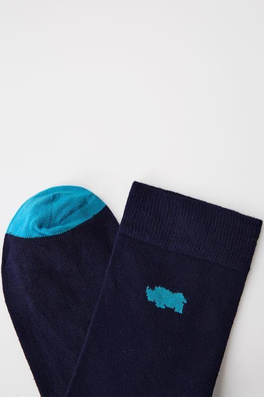 BadRhino Navy Socks With Blue Contrast Heel & Toe