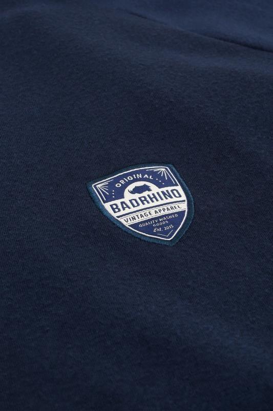 BadRhino Navy Applique Zip Through Sweatshirt