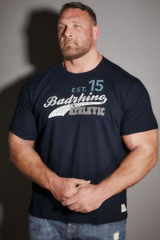BadRhino Navy 'Athletic' Slogan T-Shirt