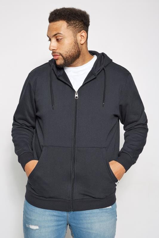 Große Größen Hoodies BadRhino Navy Basic Sweat Hoodie With Pockets