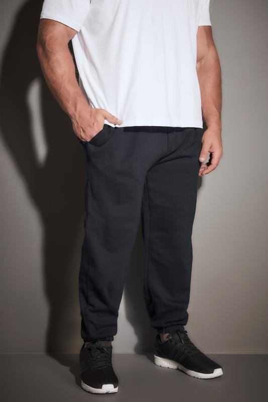 Joggers dla puszystych BadRhino Navy Basic Sweat Joggers With Pockets