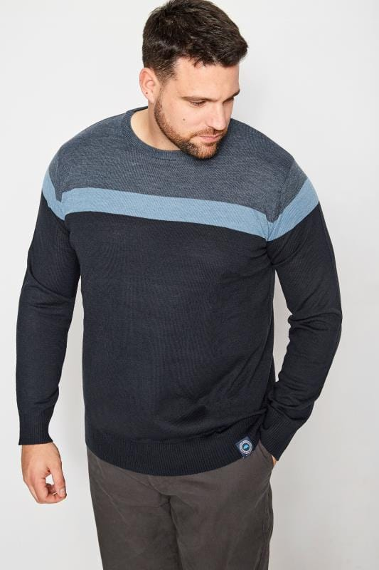 Jumpers Tallas Grandes BadRhino Navy Block Stripe Jumper