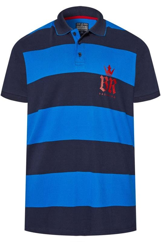 Plus Size Polo Shirts BadRhino Navy & Blue Block Striped Polo Shirt